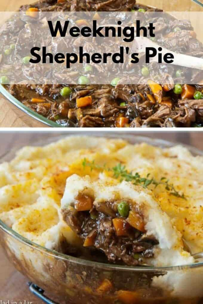 weeknight shepherd's pie made with leftover roast beef and mashed potatoes