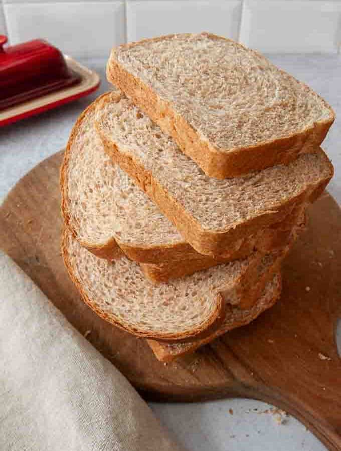 Sliced Honey Whole Wheat Bread mixed in a bread machine
