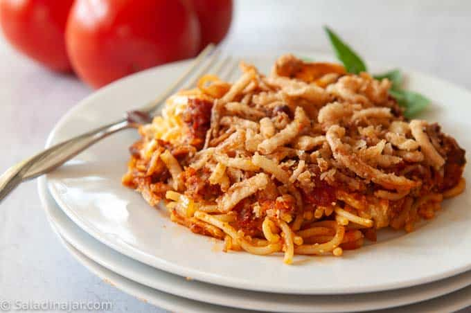 Inidividual serving of scooters spaghetti on a plate