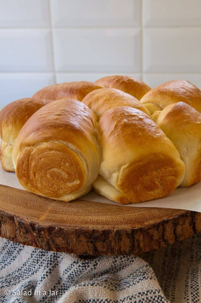 baked rolls as they come from the oven