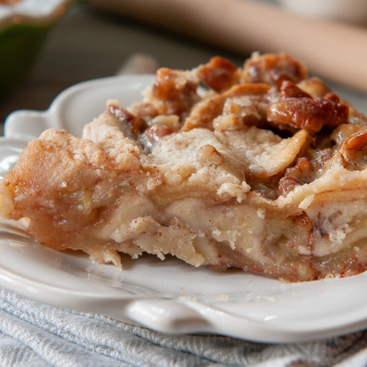 slice of crustless apple pie