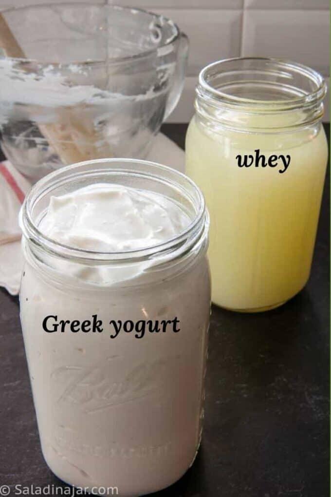 Bottle of whey and bottle of Greek yogurt