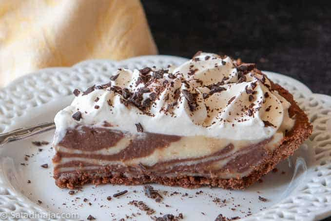 a slice of Zebra Cream pie ready to eat