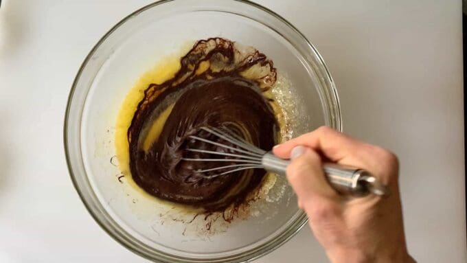 adding melted unsweetened chocolate