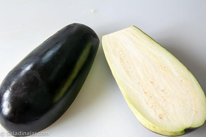 raw eggplant cut in half