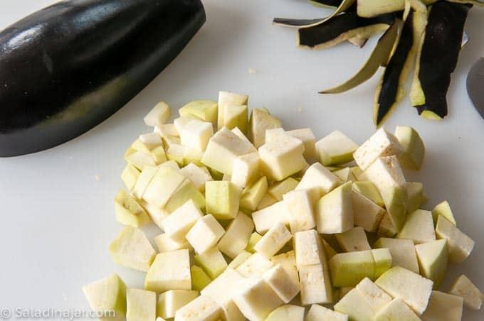 preparing eggplant (peeling and dicing)
