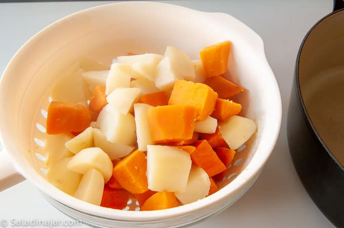 separating sweet potatoes from white potatoes
