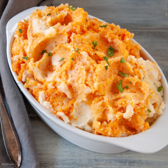 white and sweet potato mash in a bowl