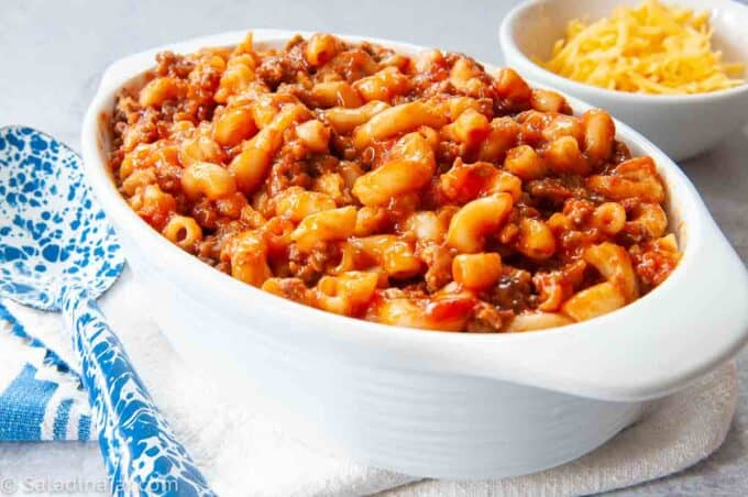 Easy Beef Goulash in a serving dish before adding cheese