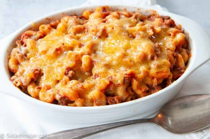 After Cheddar is added on top of ready-to-serve goulash with ketchup