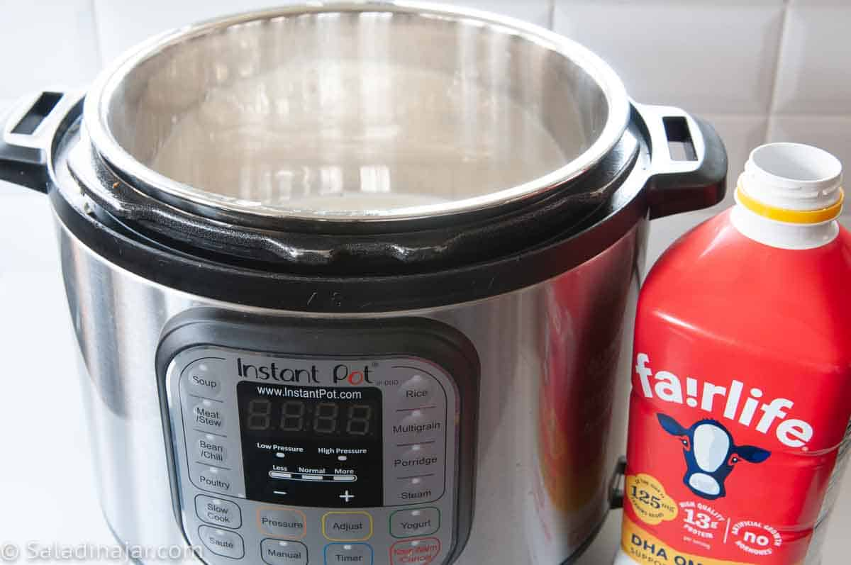 pouring fairlife milk into Instant Pot