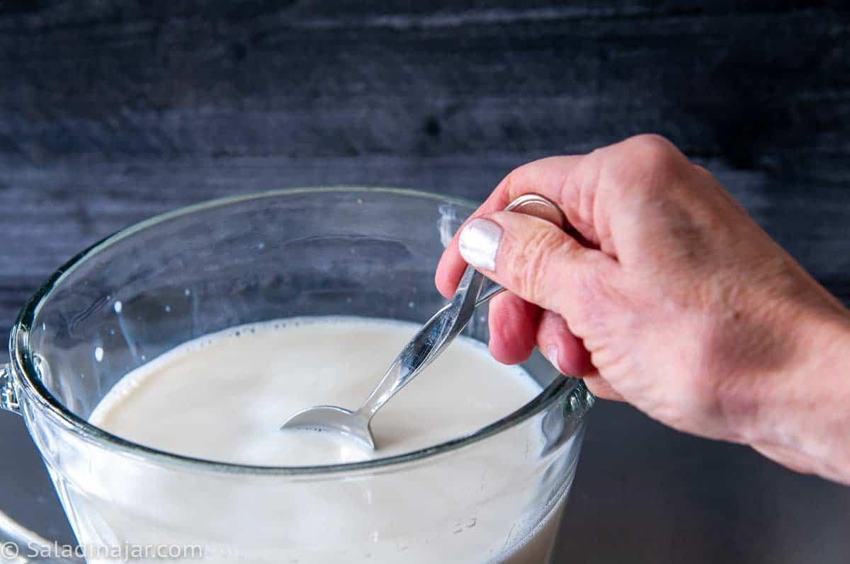 stirring starter into ultra-filtered milk