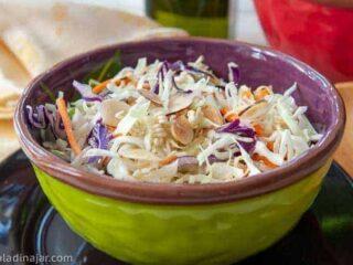 bowl of crunchy coleslaw