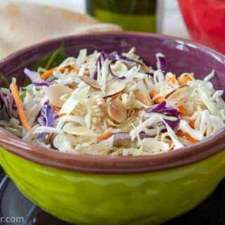 bowl of crunchy coleslaw
