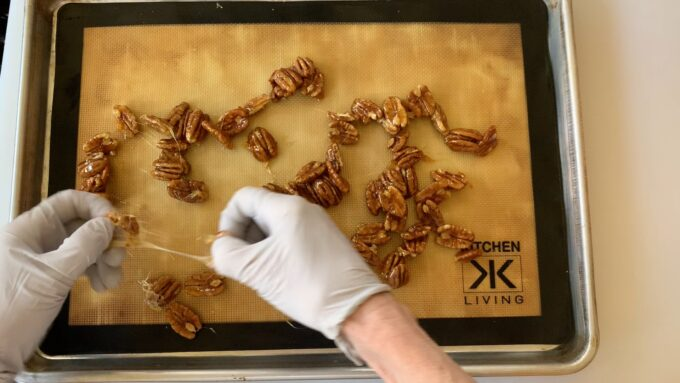 separating candied pecans before they are cool creates strings
