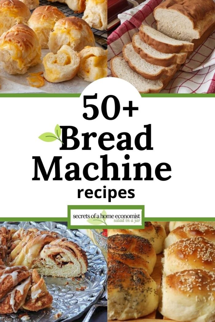pinterest image for 50+ bread machine recipes