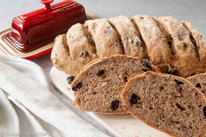 Slices of baked Rosemary Bread with dried cranberries and Toasted Pecans