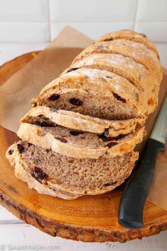Partially sliced bread machine Rosemary bread