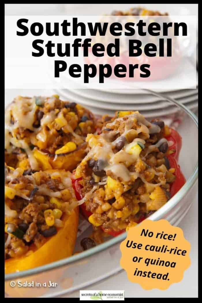 PInterest Image for Southwestern Stuffed Bell Peppers