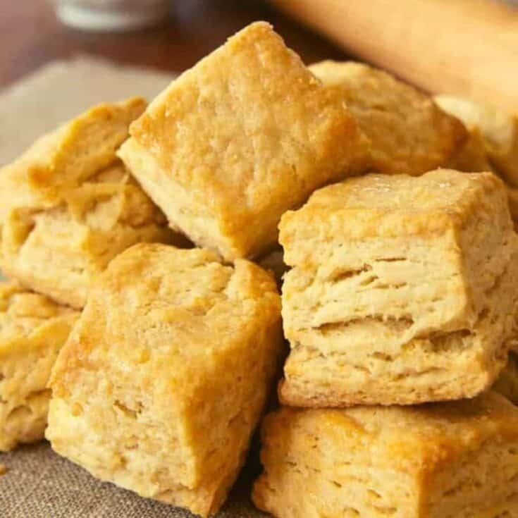 flaky biscuits made with yogurt whey on a plate