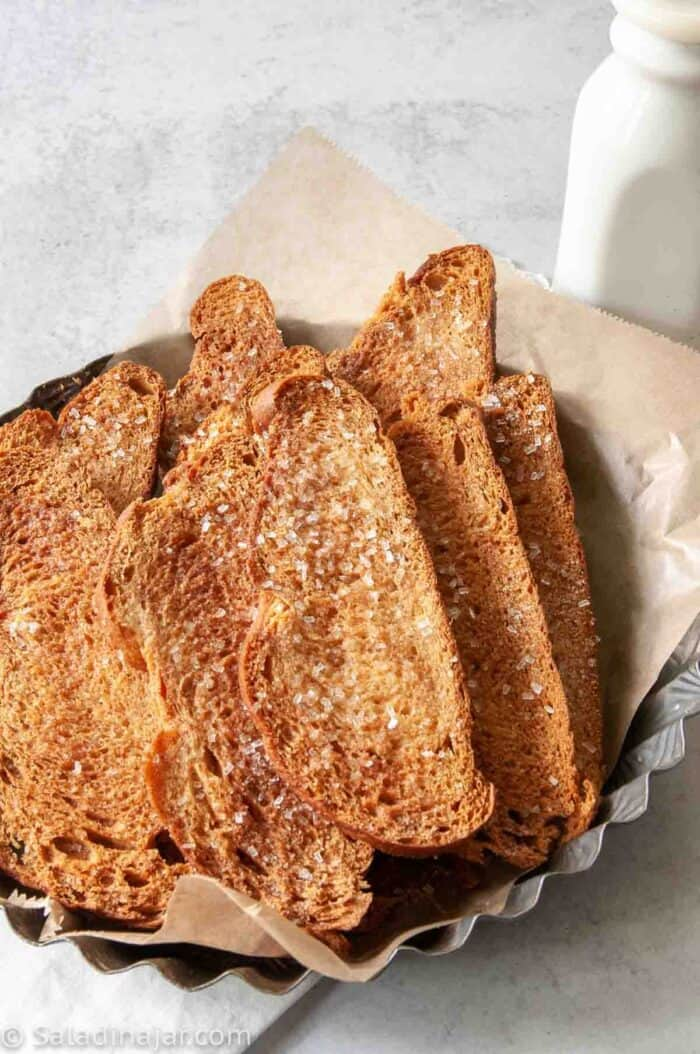 Cinnamon Melba Toast in a dish