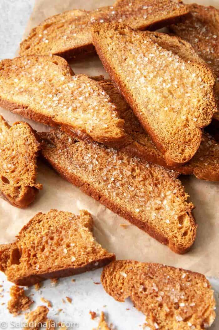 cinnamon melba toast made with a loaf of stale bread