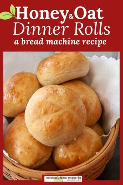 Pinterest image for Honey and Oat Dinner Rolls