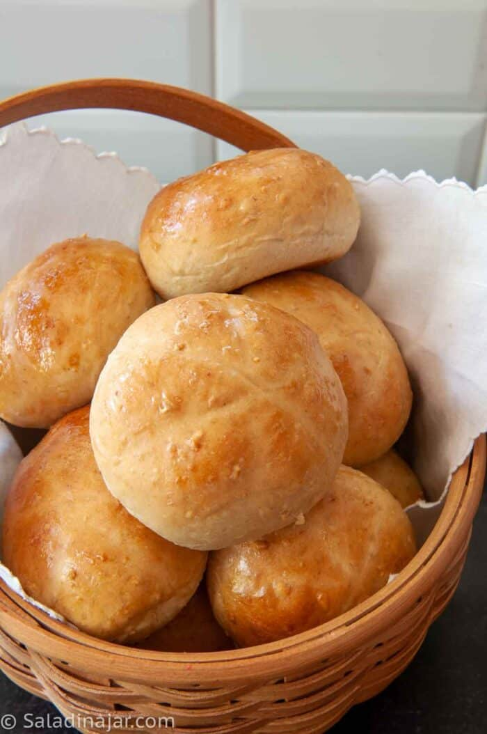 Basket of Honey Oat Dinner Rolls