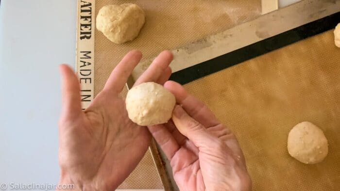 shaping the dough into balls
