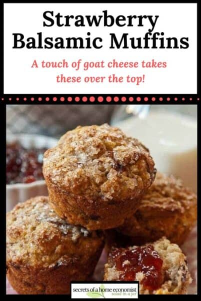 Pinterest image for Strawberry, Balsamic, and Goat Cheese Muffins