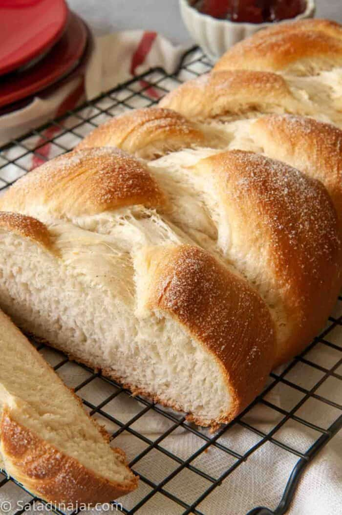 cardamom braid with sugar on top--sliced to show even texture