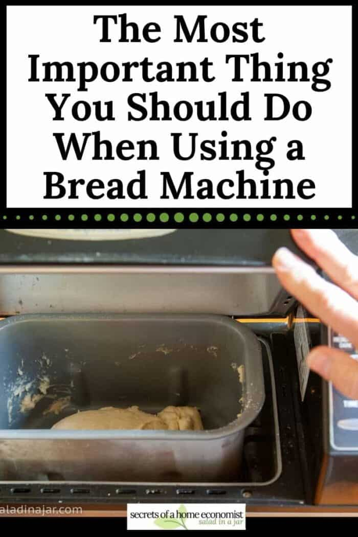 checking the dough in a bread machine