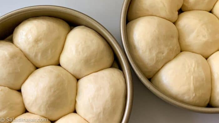 Dough balls after second rise and ready to bake
