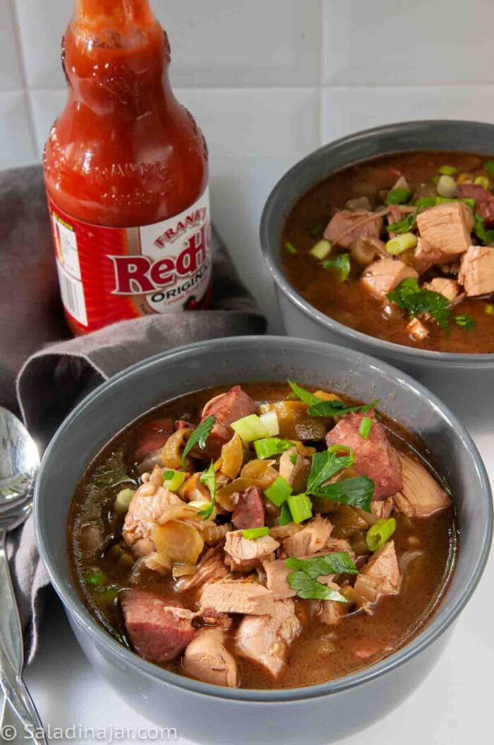 two bowls of Chicken Gumbo made with microwave roux