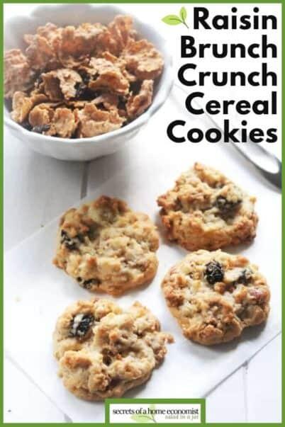 Pinterest Image of Raisin Bran Crunch Cereal Cookies