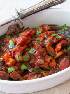 deviled swiss steak in a serving dish
