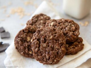 chocolate oatmeal icebox cookies ready to eat with milk