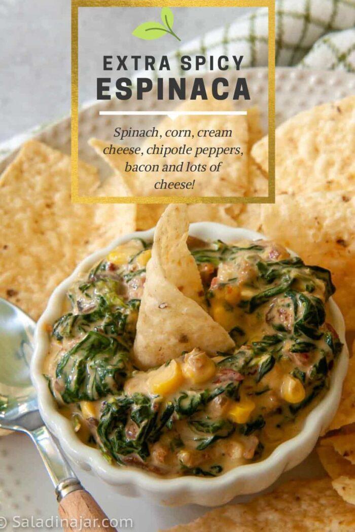 Pinterest Image of Espinaca as a dip