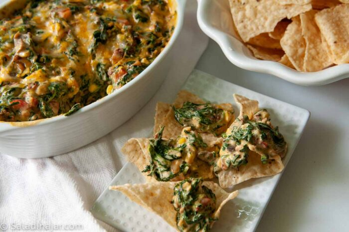 Spinach casserole with chips on the side