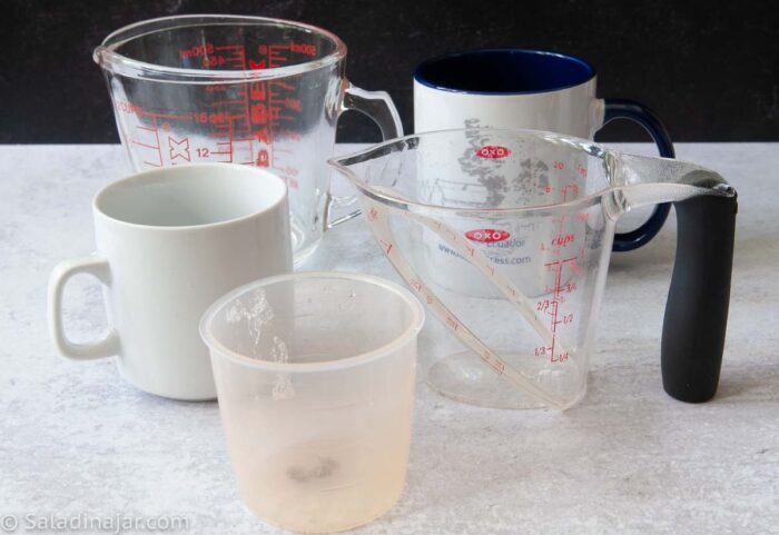 various cups that are not good to measure flour