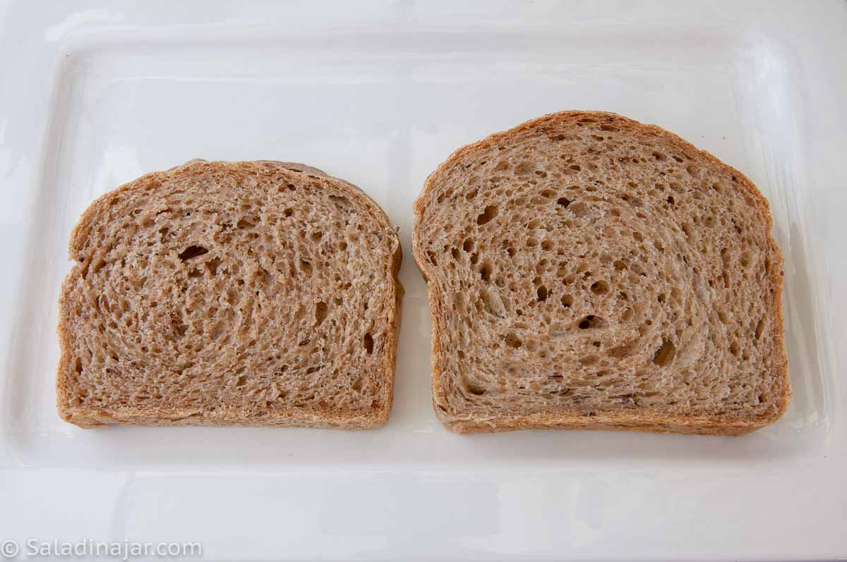 comparison of rye bread with gluten and without gluten