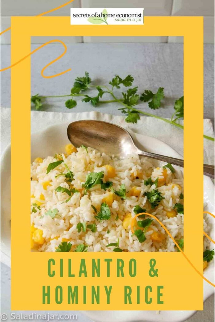 Pinterest Image for Cilantro Rice with Hominy