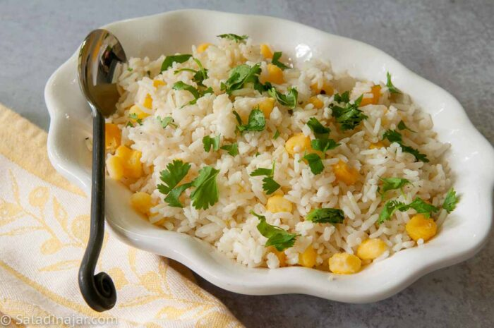 Cilantro Rice with Hominy in a serving dish