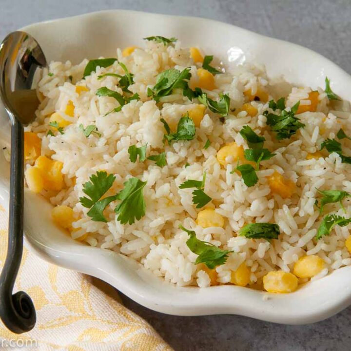 Cilantro and Hominy Rice in a serving dish