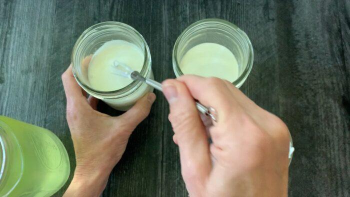 whisking the cream