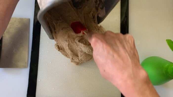 transferring dough from bread machine to the wet work surface