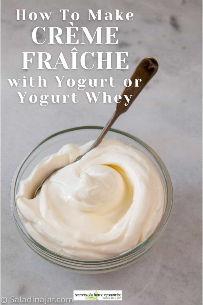 Pinterest image of Creme Fraiche in a bowl with a spoon