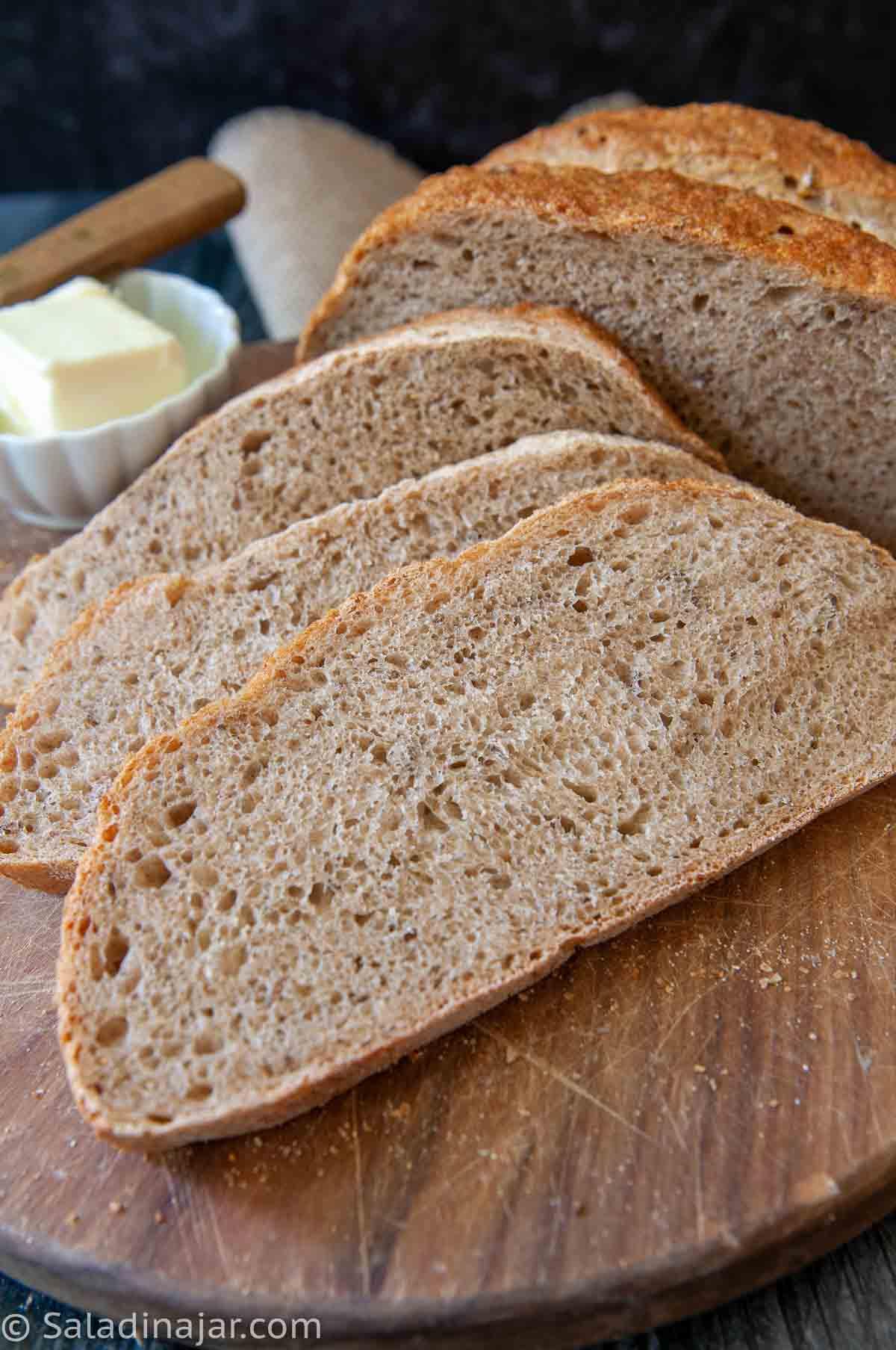 hearty rye bread--sliced
