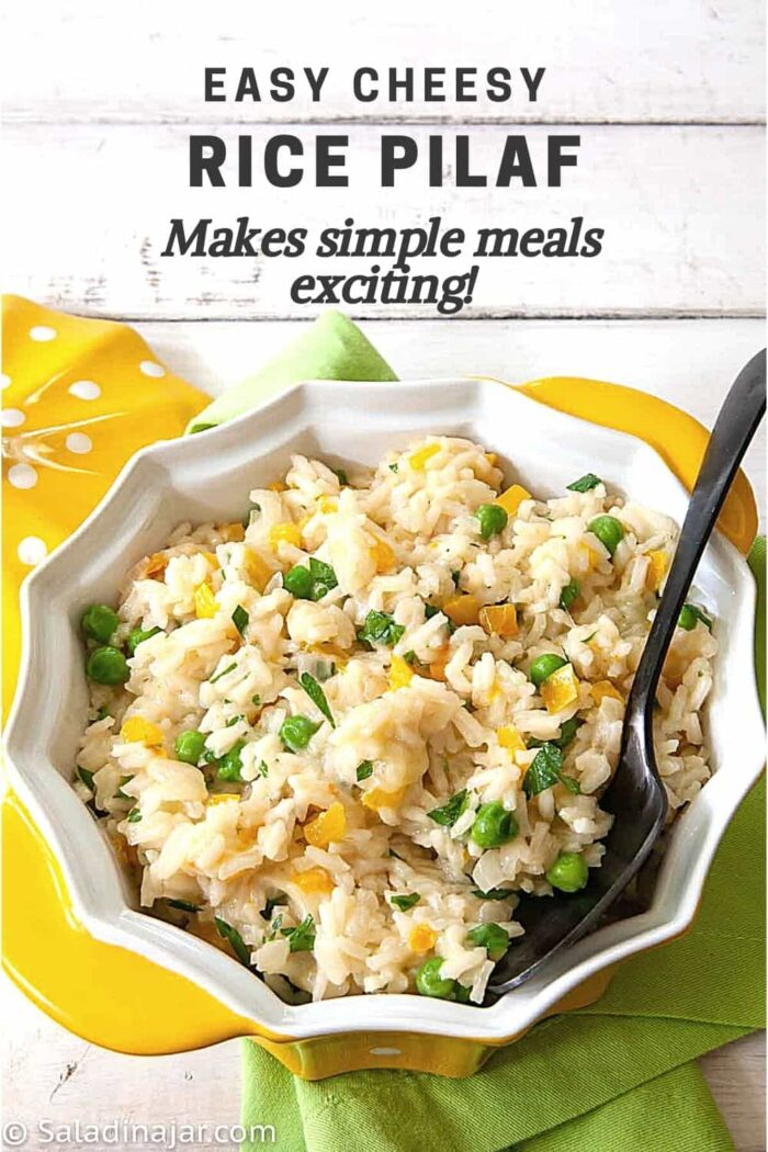 PInterest image for Easy Cheesy Rice Pilaf