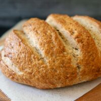 Baked loaf of bread-machine rye bread